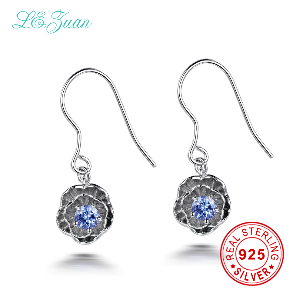 I&zuan Real 925 Sterling Silver Earrings 0.2ct Natural Tanzanite Gem Romantic Lotus Flower Drop Earings Fine Jewelry For Women