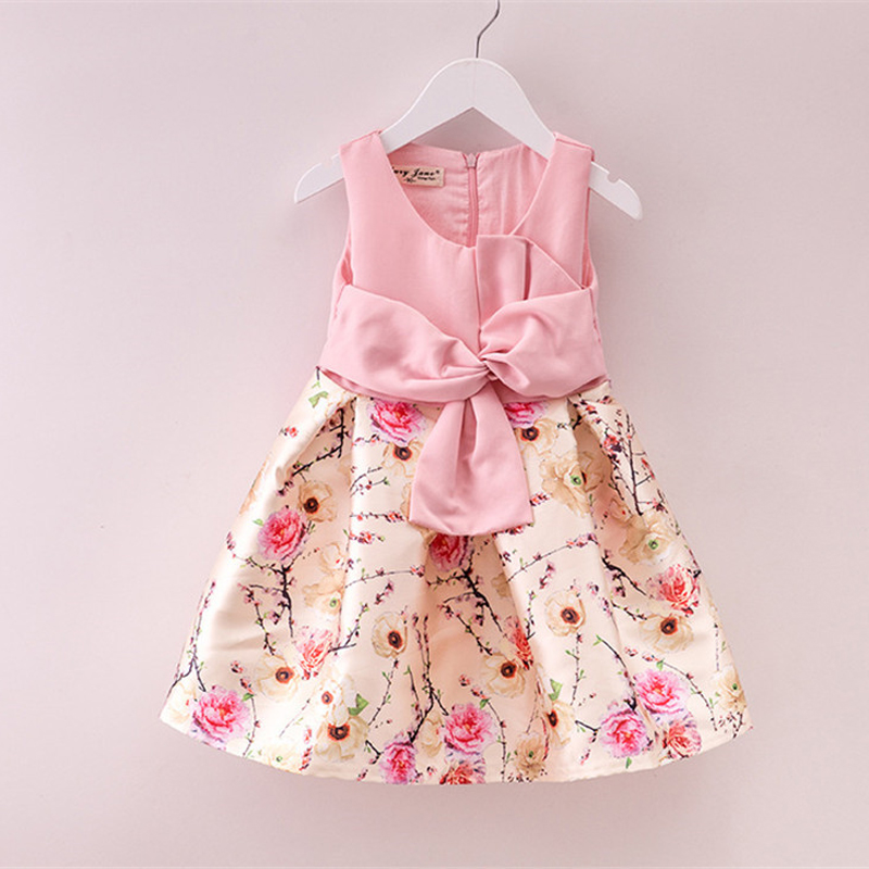 Summer Flower Girl Dress European Style Kids Dresses for Girls Clothes Sleeveless Children Princess Flower Vestido 3 to 7 Years 8 colors european style kids summer birthday prom party princess flower girl dresses lace mint dress for girls aged 3 to 13