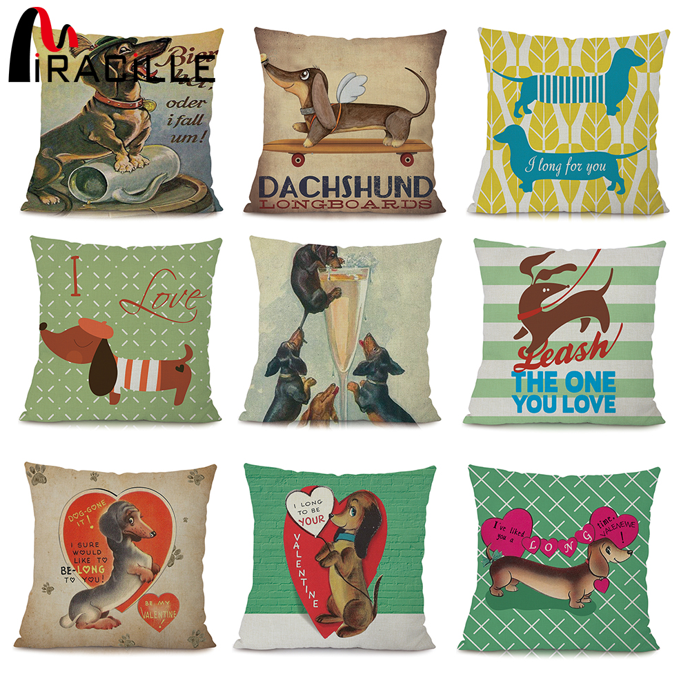 Miracille Square 18 Euro Dachshund Dog Cushion Cover Cartoon Pugs Linen Animals Pillowcase Home Decor Chair Sofa Seat