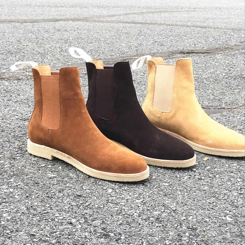 Handmade แบรนด์หรูวัวหนังฤดูใบไม้ร่วงฤดูหนาวชายรองเท้าแฟชั่น Pointed Toe แต่งงานรองเท้าเชลซี Vintage รถจักรยานยนต์