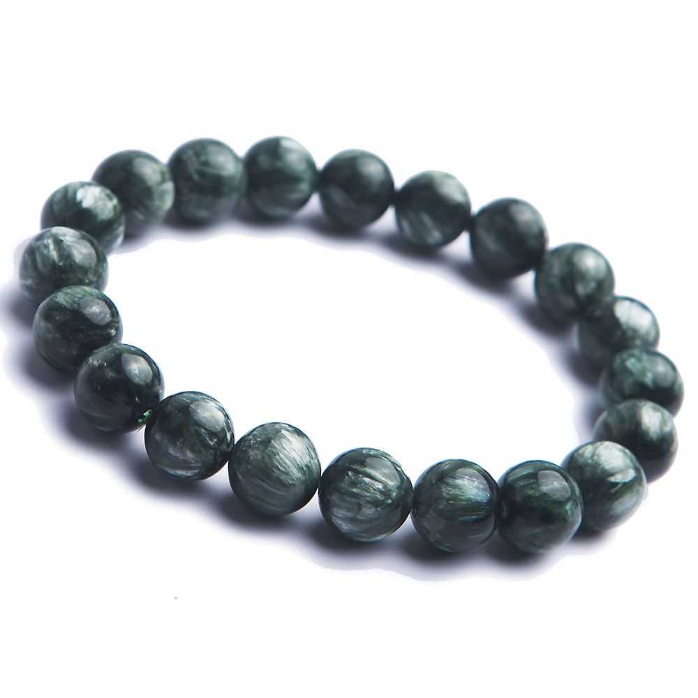 Genuine Natural Gems Stone Green Seraphinite Round Beads Women Mens Crystal Stretch Bracelets 11mm buy mens string bracelets