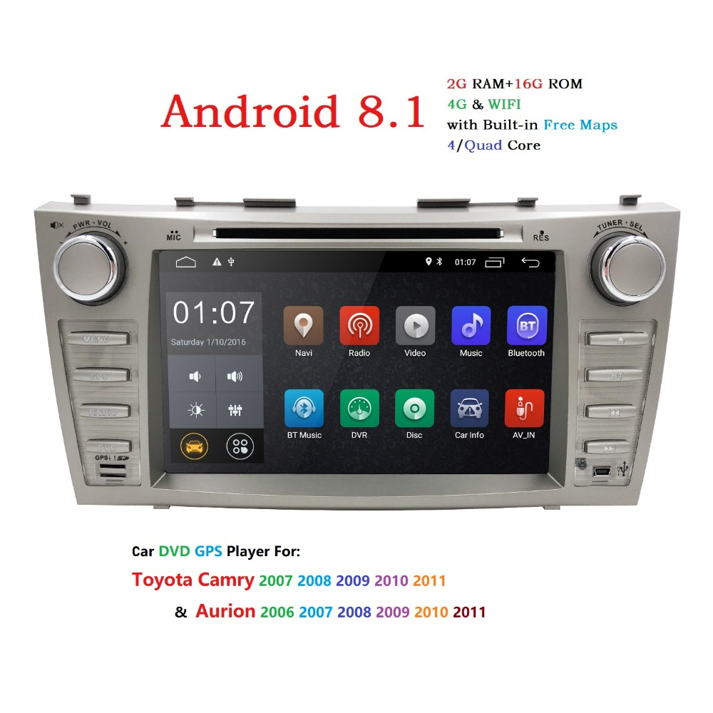 8Touch screen 2din car radio gps android 8.1 Car DVD Player GPS For for TOYOTA Camry 2007 2011 Aurion 2006 2011+wifi+SWC+BT DAB