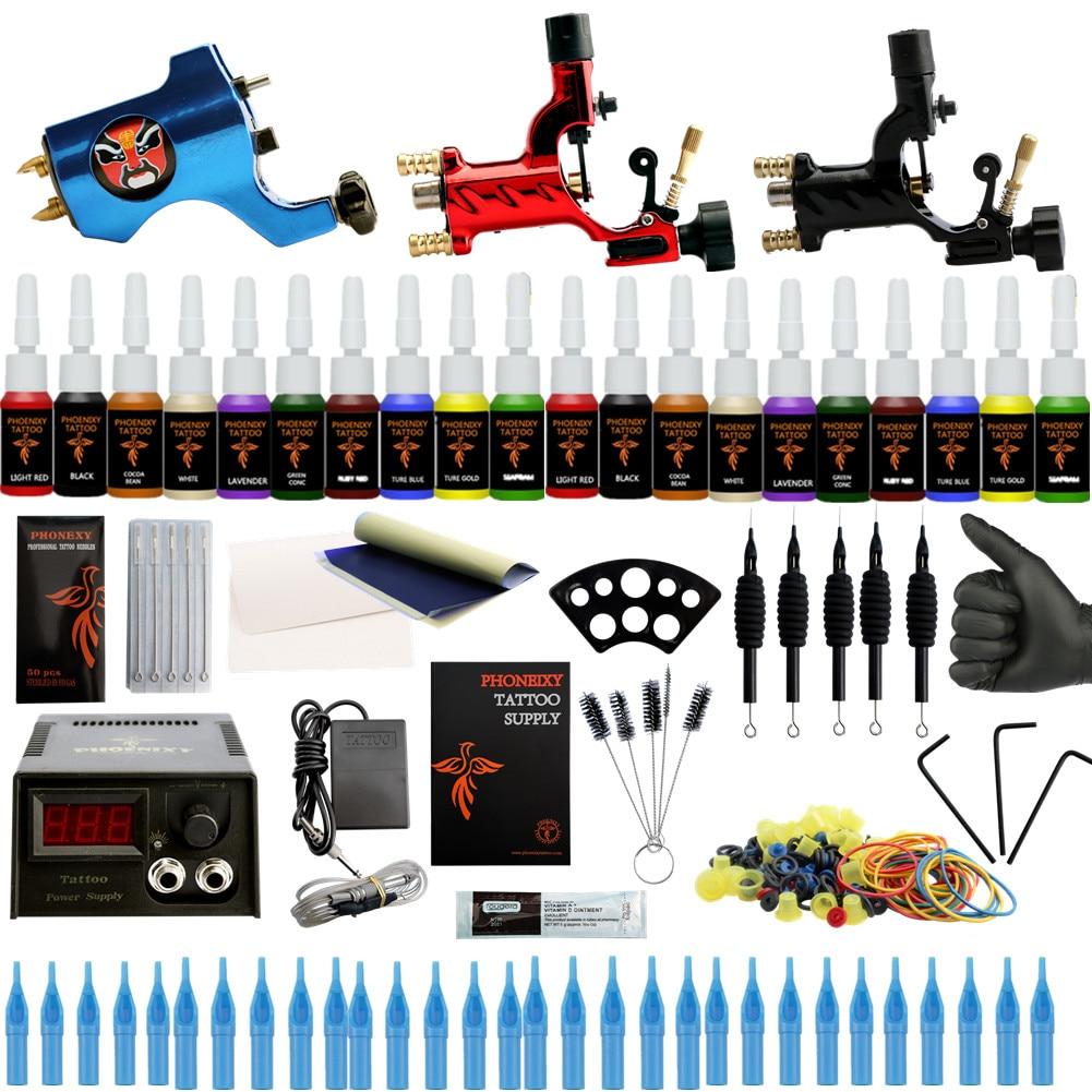 цена на Beginner Starter Complete Tattoo Kit Professional Tattoo Machine Kit Rotary Machine Guns 20 Inks Power Supply Grips With Needles