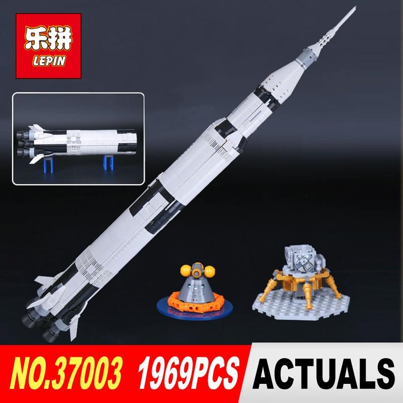 Lepin 37003 1969Pcs Creative Series The Apollo Saturn V Launch Vehicle Set Children Building Blocks Bricks Educational Toy 21309 apollo ru bun lock children puzzle toy building blocks