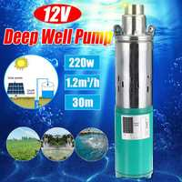 Solar Water Pump Max Lift 30m 12V 220W 1200L/h Deep Well Pump DC Screw Submersible Pump Irrigation Garden Home Agricultural