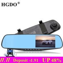 HGDO Dash cam Car dvr Dual Lens Rear view Mirror Camera 4 3 inch Full HD1080P