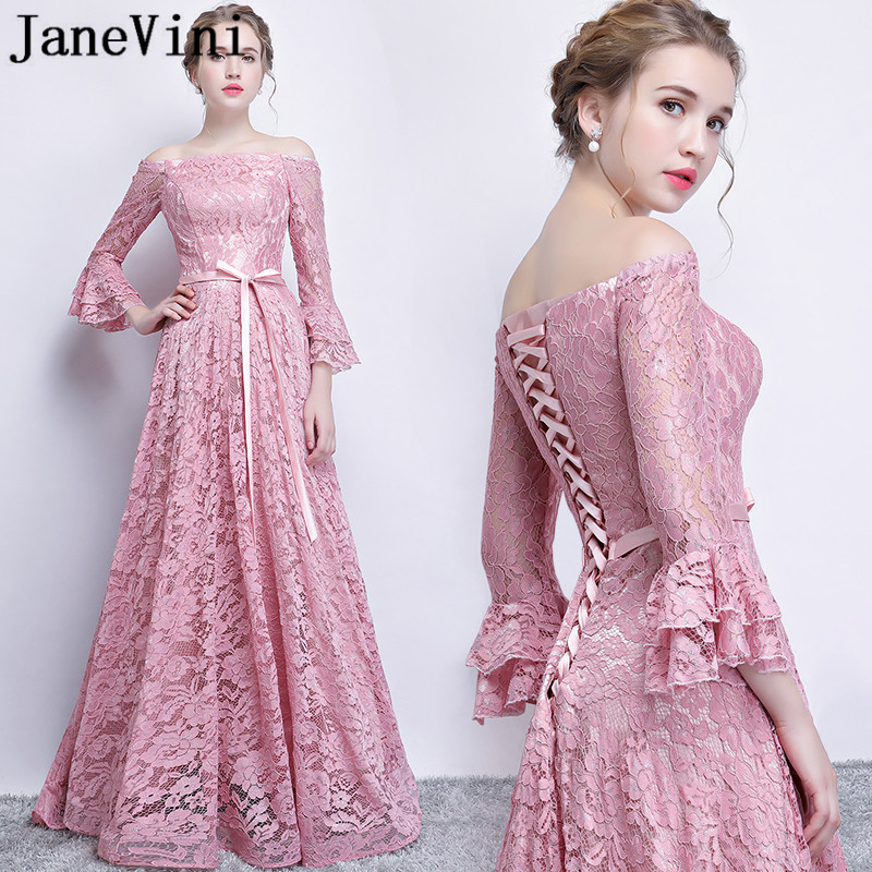 JaneVini Elegant Dusty Pink Women   Bridesmaid     Dresses   With 3/4 Sleeves Lace Off Shoulder A-Line Godmother   Dress   Gala Party Gowns