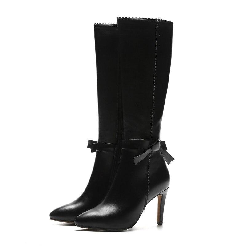 Noir Bout Stiletto Bottes Top Hiver Morazora Talons Automne Qualité Lady En Genou Chaussures Véritable Cuir Femmes Haute Pointu 2018 8fUqS