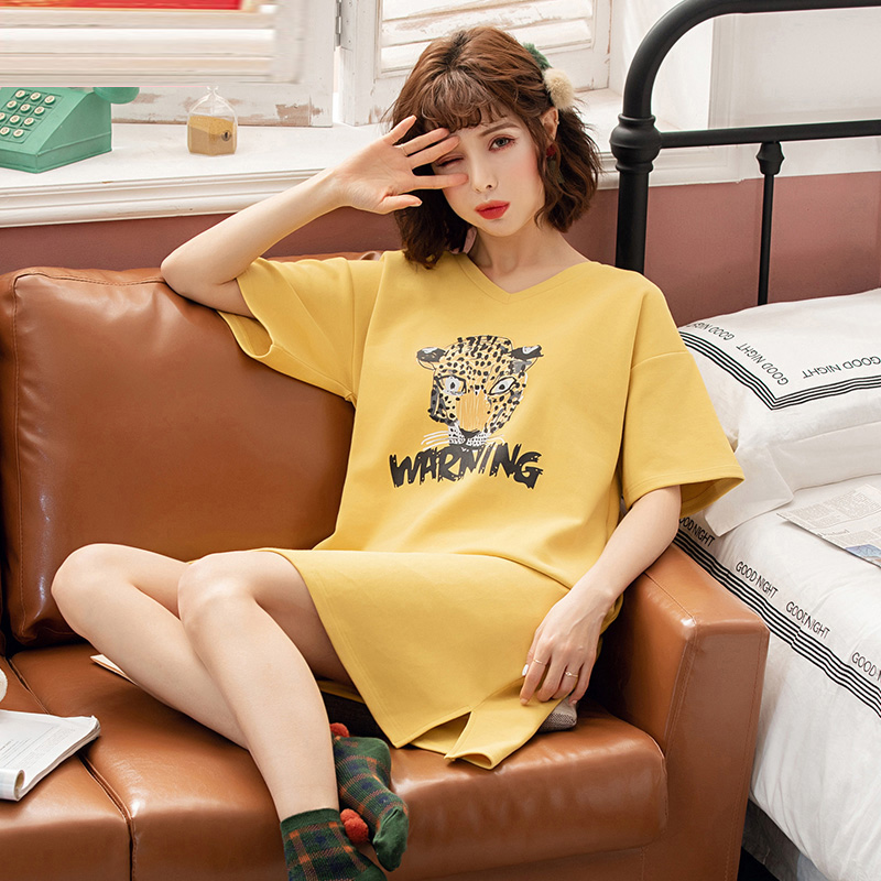 Yidanna Female Summer   Nightgown   Short Sleeved Cotton   Sleepshirt   Women Sleep Clothing Fashion Sleepwear O Neck Nightwear Nighty