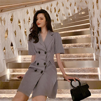 Office Lady Elegant Slim Blazer Dress Solid Color Notched Double Breasted Bodycon Work Wear Dresses for Women Summer Sundress