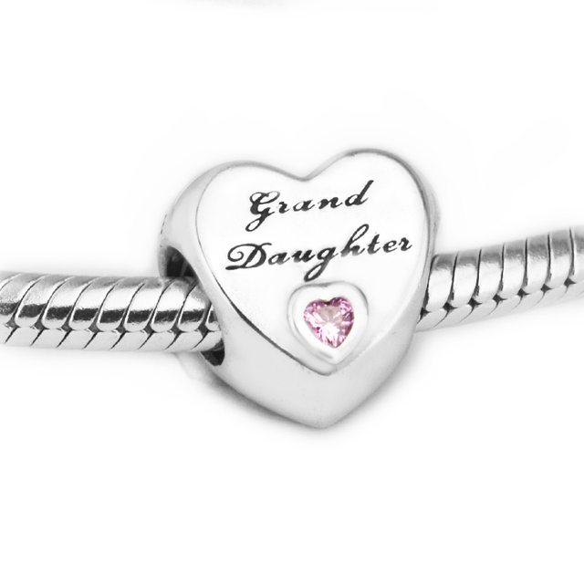3cb6ee594 Fits for Pandora Charms Bracelets 100% 925 Sterling-Silver-Jewelry  Granddaughter's Love Beads with Pink CZ Free Shipping
