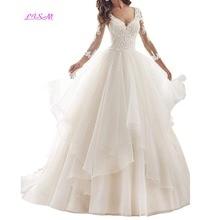 все цены на Ball Gown Wedding Dress Long Sleeves Lace Appliques Bride Dresses V Neck Ruffles Sheer Back Wedding Gowns vestido de noiva 2019