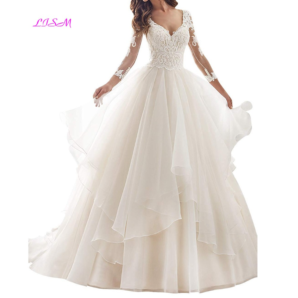 Ball Gown Wedding Dress Long Sleeves Lace Appliques Bride Dresses V Neck Ruffles Sheer Back Wedding Gowns vestido de noiva 2019