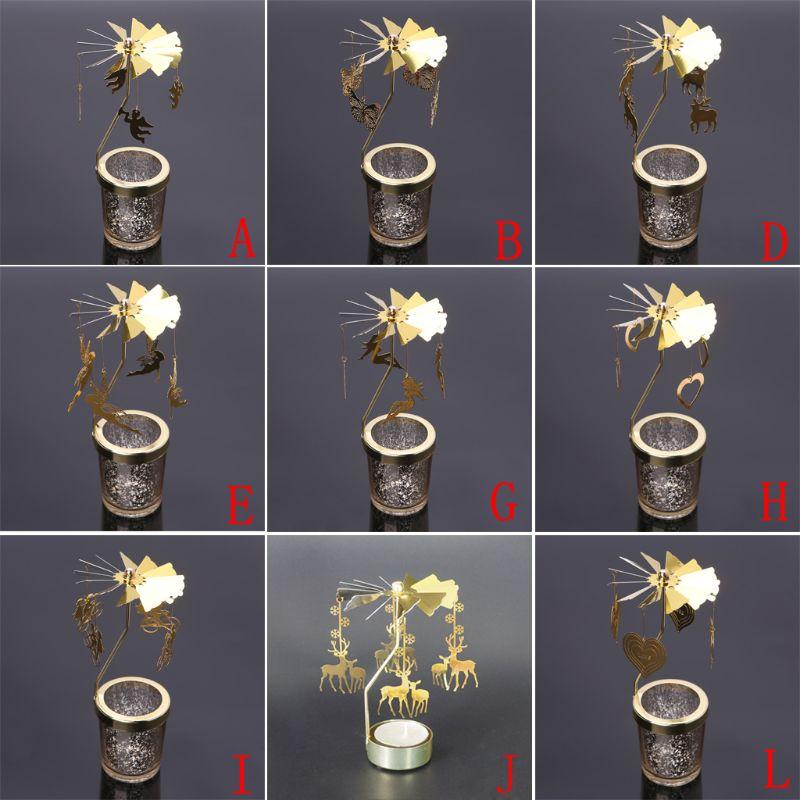 Xmas Rotating Spinning Carousel Tea Light Candle Holder Center Home Decor