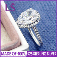 LS Hot Sale High Quality 100 Real 925 Sterling Silver Radiant Teardrop Clear CZ Ring For