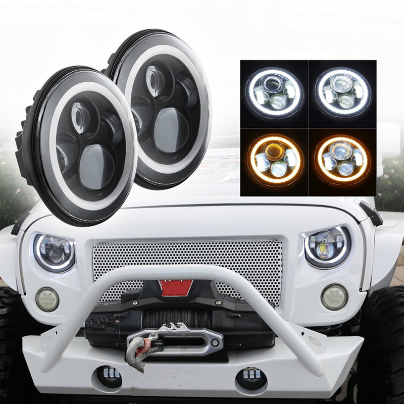 Pair Round 7'' Projector Daymaker headlight 7 inch H4 led fog Headlight Headlamp with Halo Ring light bulbs for Jeep JK 40w headlamp 7 inch led halo ring daymaker headlight rear tail lights with 4 fog light for jeep wrangler jk l21