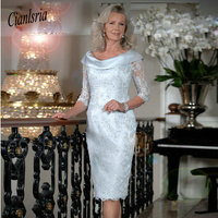 Plus Size 2019 Mother Of The Bride Dresses Sheath 3/4 Sleeves Lace Beaded Short Wedding Party Dress Mother Dresses For Wedding