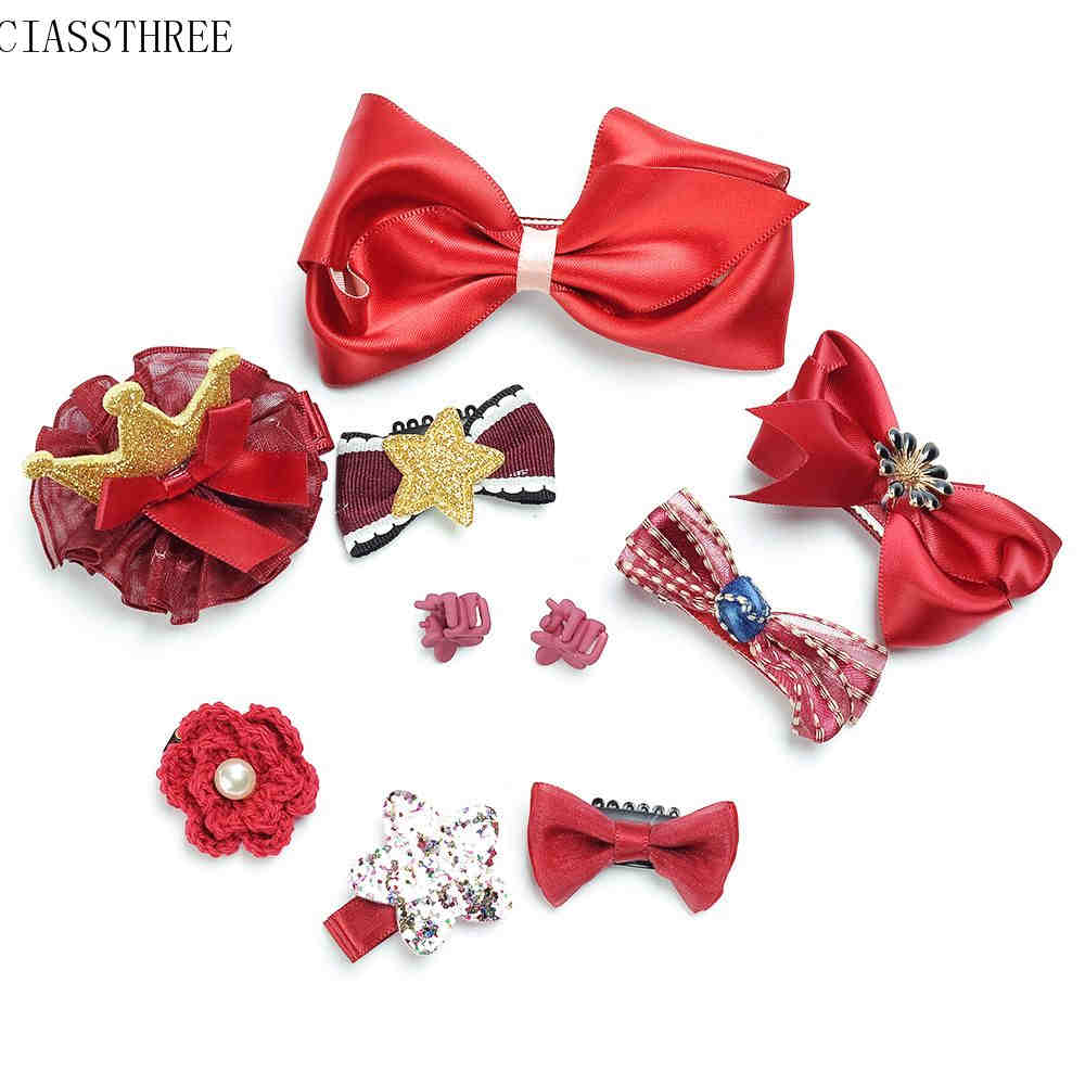 10pcs Headwear Set Children Rabbit Bow Hairclip Hairpin Princess Headdress Crown