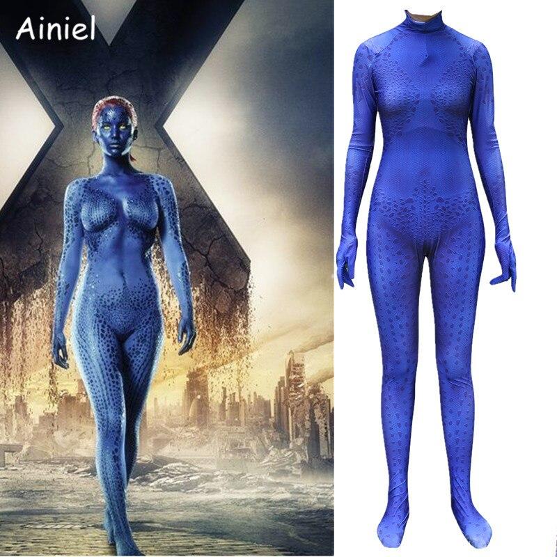 Ainiel Movie X Men Cosplay Costume Raven Darkholme Blue Speckle Jumpsuit Mystique Bodysuit Halloween Party Suit