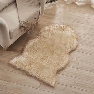 Image 1 - Sofá decorativo de imitación de lana para el hogar, cojín de salón europeo, alfombras de cuero de oveja, dormitorio, cabecera, ventana, cojín de pelo largo