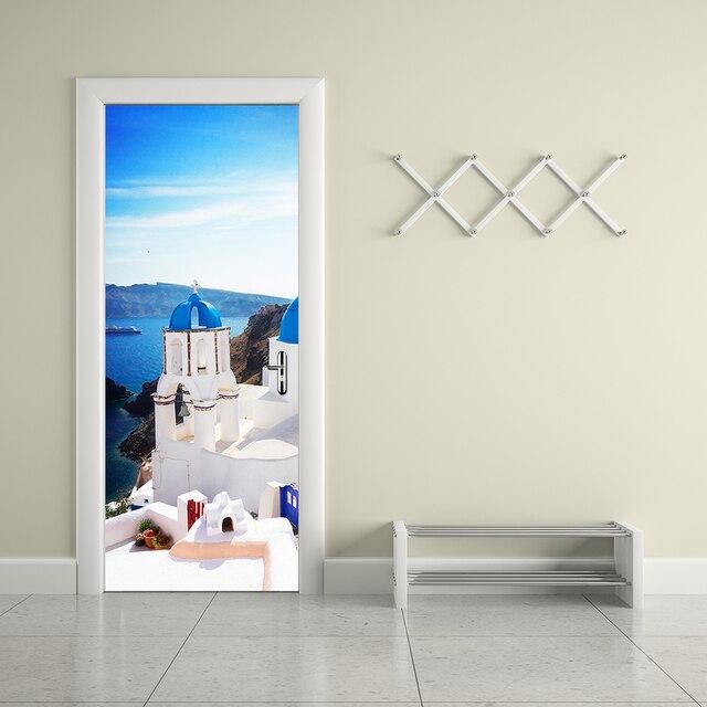 US $17.39 42% di SCONTO|Grecia Santorini Modello di Adesivi Per Porte Porta  FAI DA TE Impermeabile Porta IN PVC Murales Autoadesivi Della Decorazione  ...