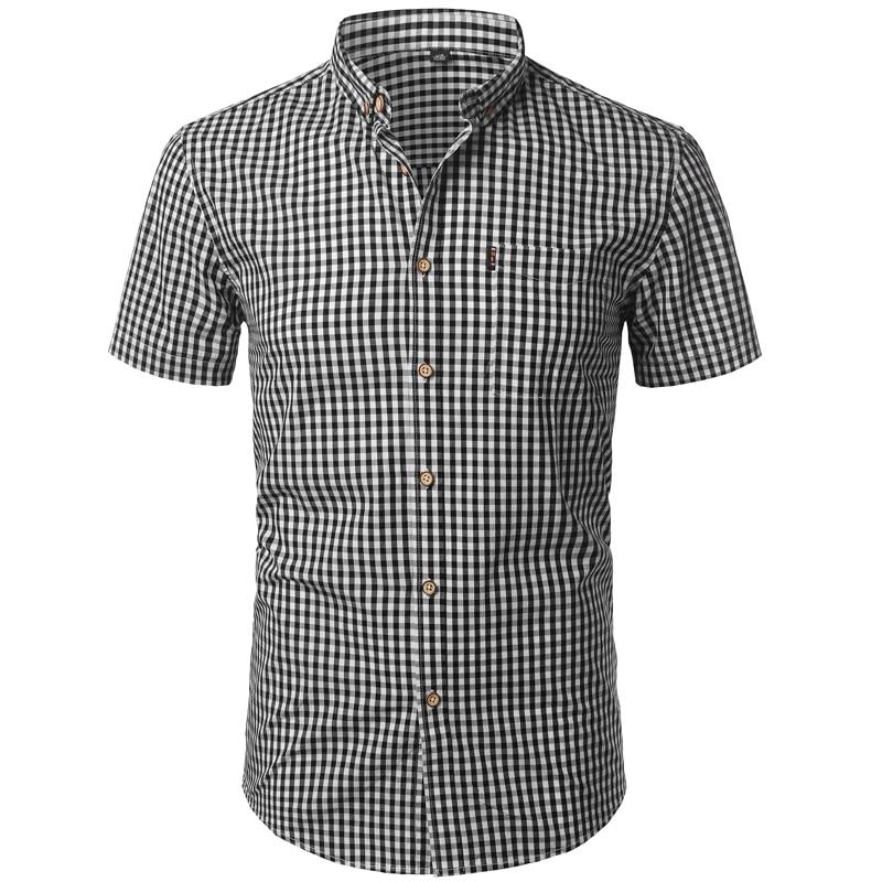 Small Plaid Shirt Men Summer New Short Sleeve Cotton Mens Dress Shirts Casual Button Down Chemise Homme Camisa Masculina XXXL 3
