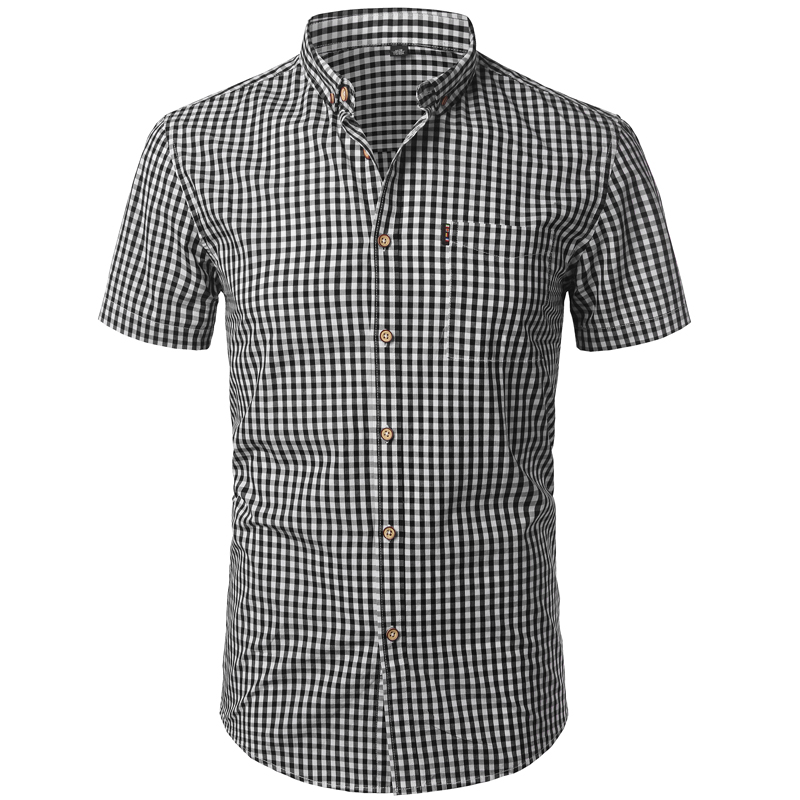 Small Plaid Shirt Men Summer New Short Sleeve Cotton Mens Dress Shirts Casual Button Down Chemise Homme Camisa Masculina Xxxl Shirts Casual Shirts