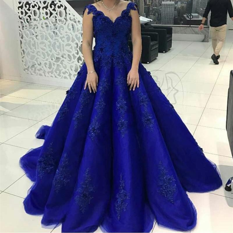 Robe Longo marine Bal Arabe Dentelle Bleu Puffy V Royal Robes Perles Up Soirée cou Avec Appliques Arabie Rouge 2019 De qFwHT7Ta