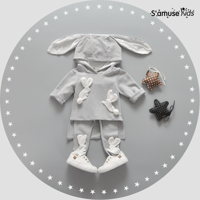 2pcs/set Newborn Baby Girl Clothes Korean Casual Bunnies Kids Hooded Fashion Baby Sweatshirts + Trousers Baby Set Infantil Cloth