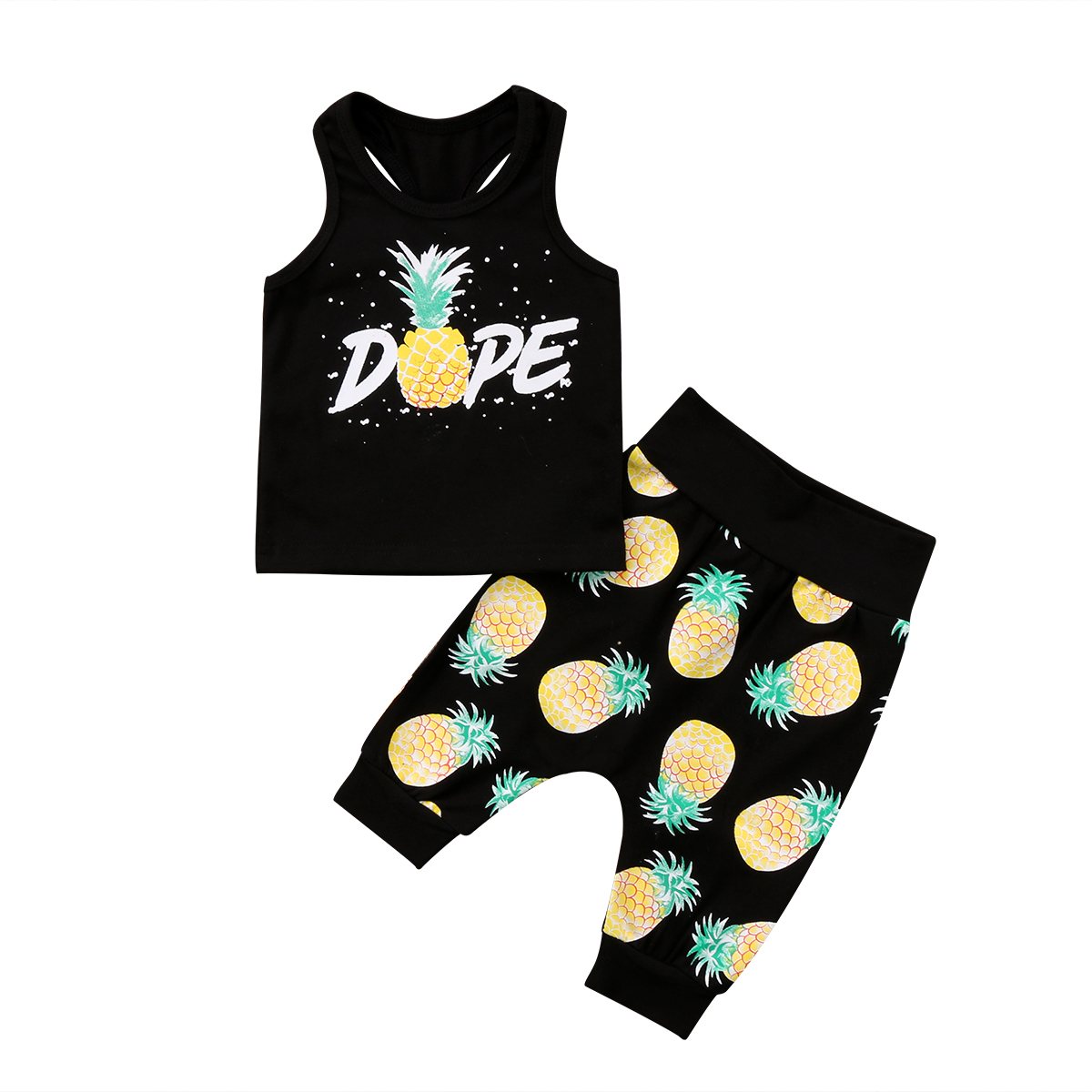 2Pcs Toddler Infant Kid Baby Boys Pineapple Prints Clothing Sets T-shirt Tops+Pants Outfits 2018 Summer New