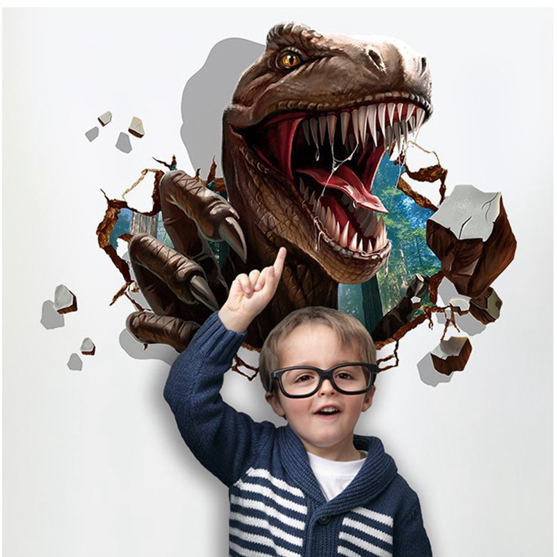 New 3D Wall Sticker Removable Dinosaur Raid Wall Stickers For Kids Rooms Decoration For Home Cartoon Poster On The Wall Stickers
