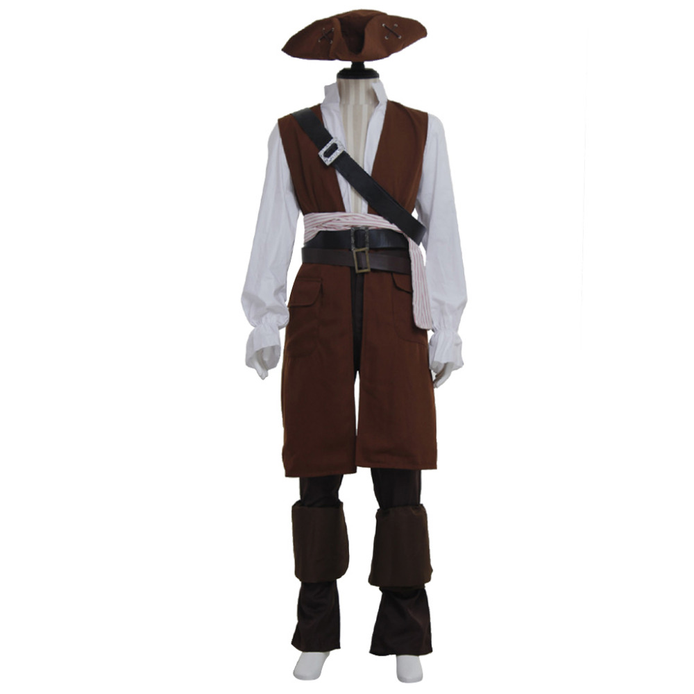 Pirates of the Caribbean Cosplay Captain Jack Sparrow Costume Outfit For Adult Men Halloween Party Cosplay Clothing Custom Made
