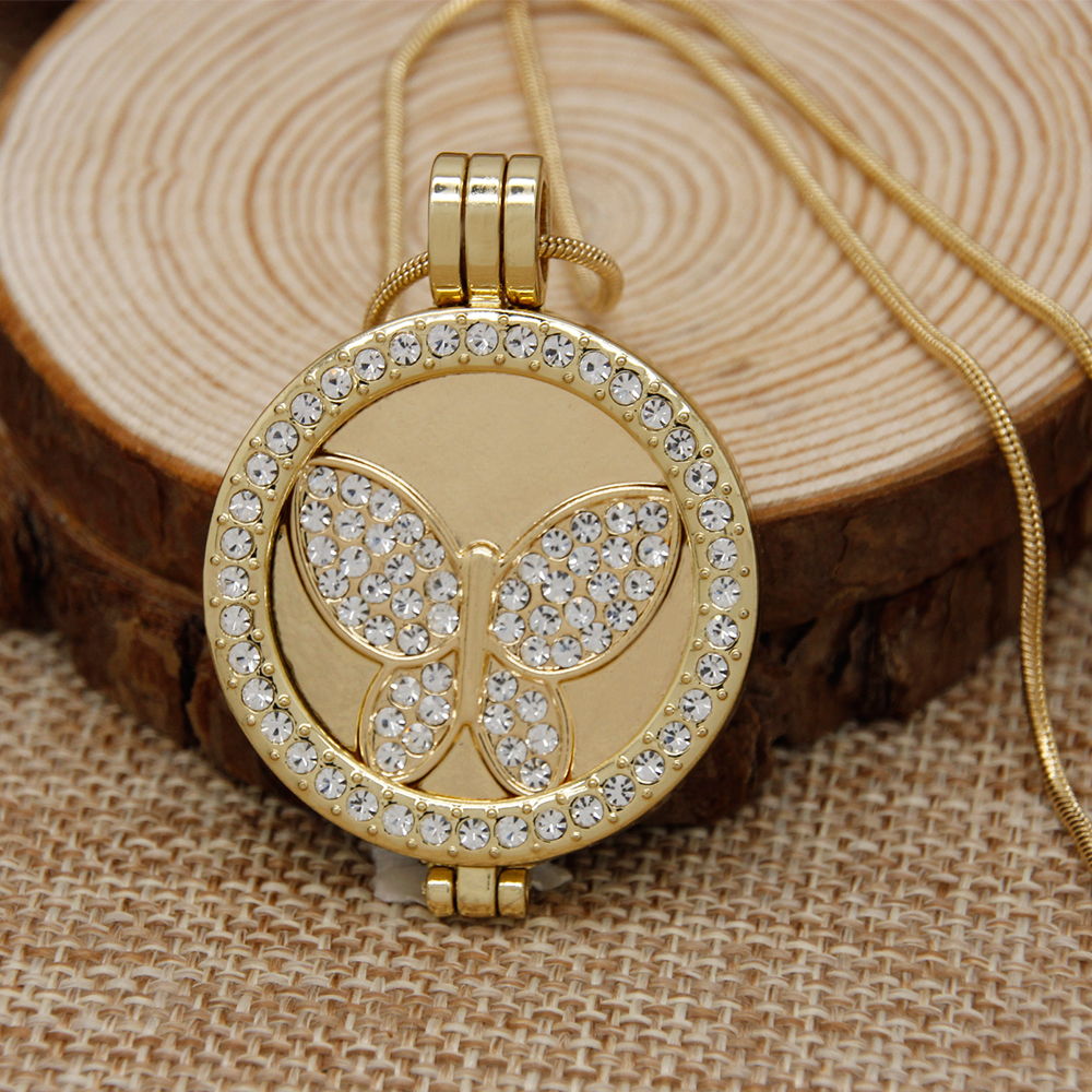 Fashion jewelry gold color coin holder pendant necklace butterfly fashion jewelry gold color coin holder pendant necklace butterfly with rhinestone 32mm my coin long necklace for party cng0074 aloadofball Images