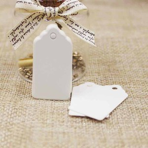 Image 4 - 100pcs Paper Gift Tags Card White/black/kraft Scallop Festival Wedding Decoration Blank Mini Luggage Label 2*4cm