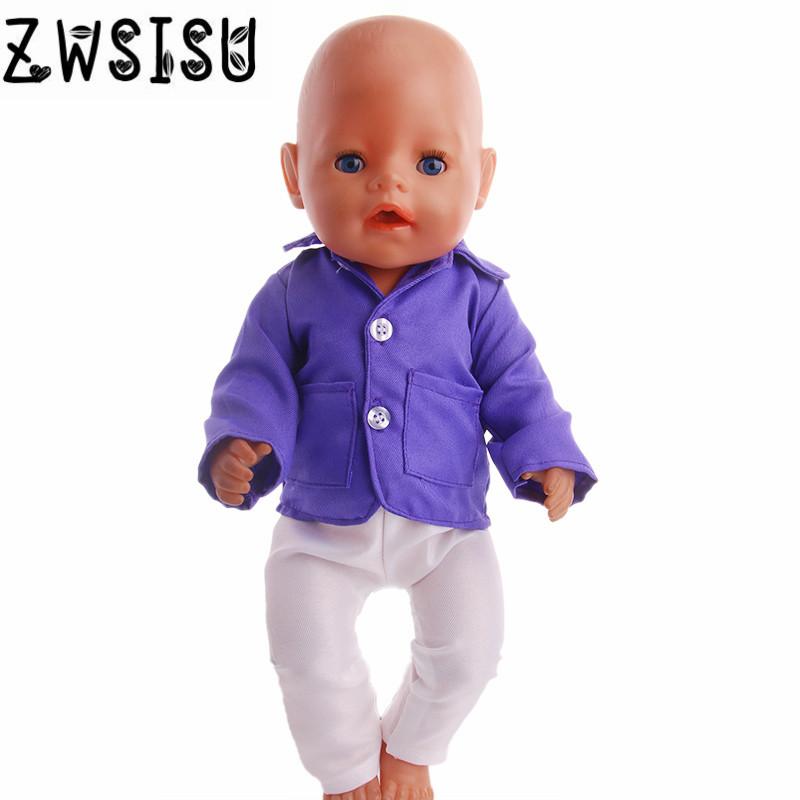 Purple uniform blouse and white pants, suitable for 18inch American doll, give your child the best doll accessories image