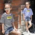 Girls t shirt children t shirts for girl korean strip loose O-neck letters print short sleeve for summer 2016 new arrival