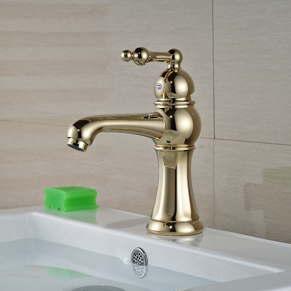 Wholesale And Retail Golden Finish Solid Brass Bathroom Basin Faucet Single Handle Hole Cold Hot Mixer Tap