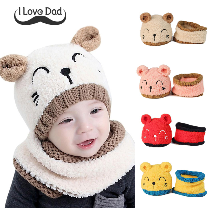 Lovely Baby Hat Scarf Set Cute Ears Scarf For Baby Boys Girls Beanies Cotton Children Hats Scarves Set Baby Girls Caps Photo Props Girl's Accessories Girl's Hats,scarves & Gloves Sets