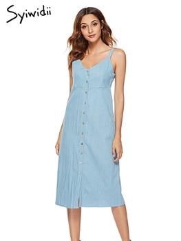 ff9bd74452f Джинсовое платье женское светло-Синее джинсовое платье миди ремешки ...