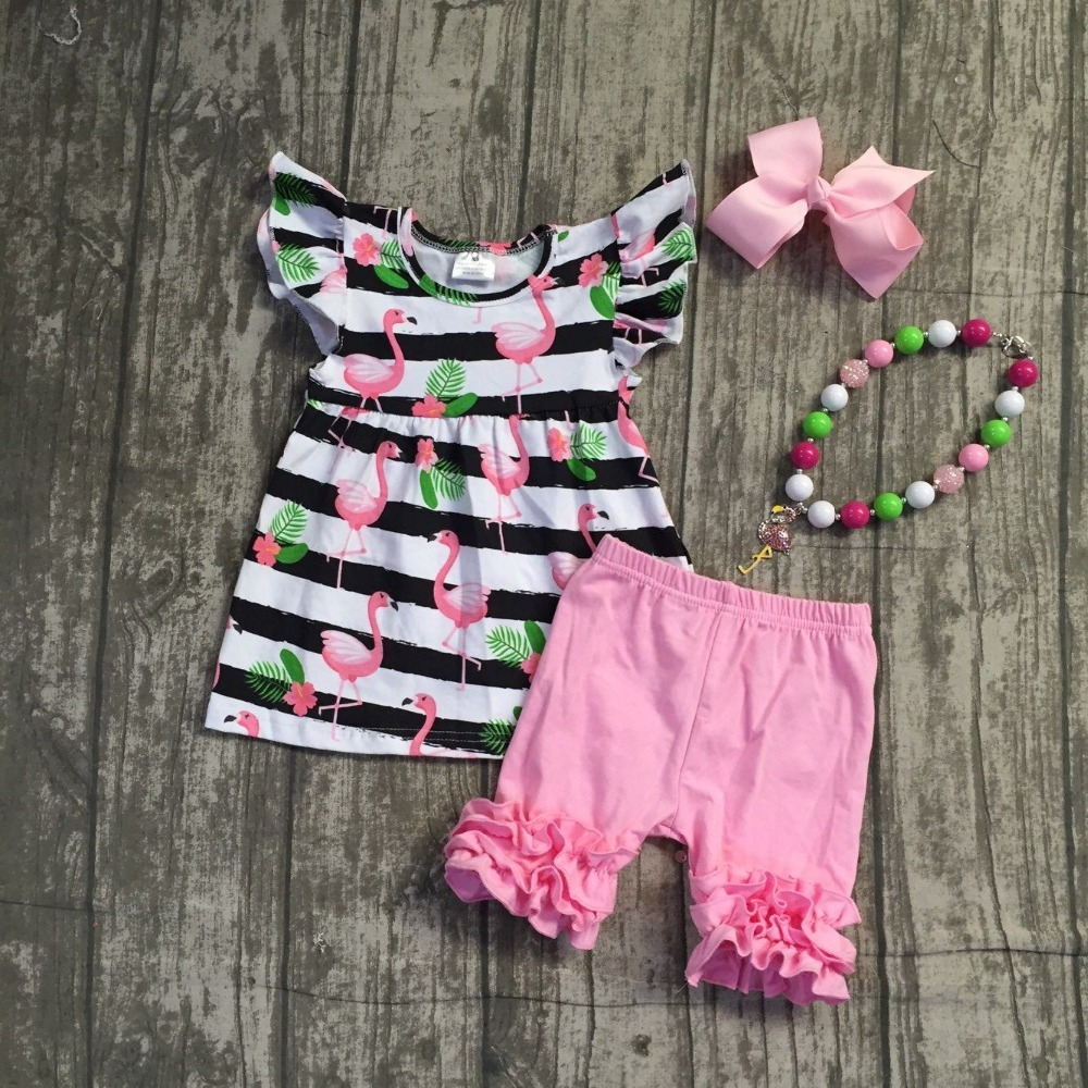 black white stripes flamingos short sleeves top solid pink ruffle short Summer outfit girls boutique clothing with accessories flamingos print dip hem top