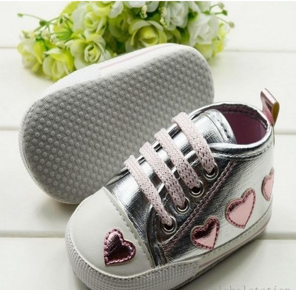 Cute-pink-Love-Style-Kid-Toddler-Baby-Girl-Silver-Crib-Heart-Soft-Shoes-Walking-Sneaker-0-18-M-2