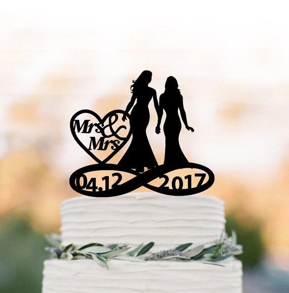 Vintage love marriage lesbian wedding cake topper