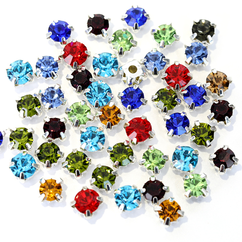 200pcs 4mm Glass Round Sew On Rhinestones With Silver Claw Flatback Colorful Sew On Claw Rhinestone For Clothes Crafts B2388
