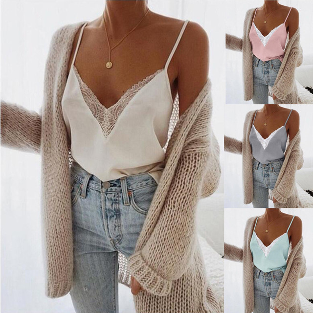 MUQGEW Women Lace Vest Sleeveless Loose Camisole Casual V-Neck Tank Tops Lace T shirts Vest Summer  New Hook Flower Lace