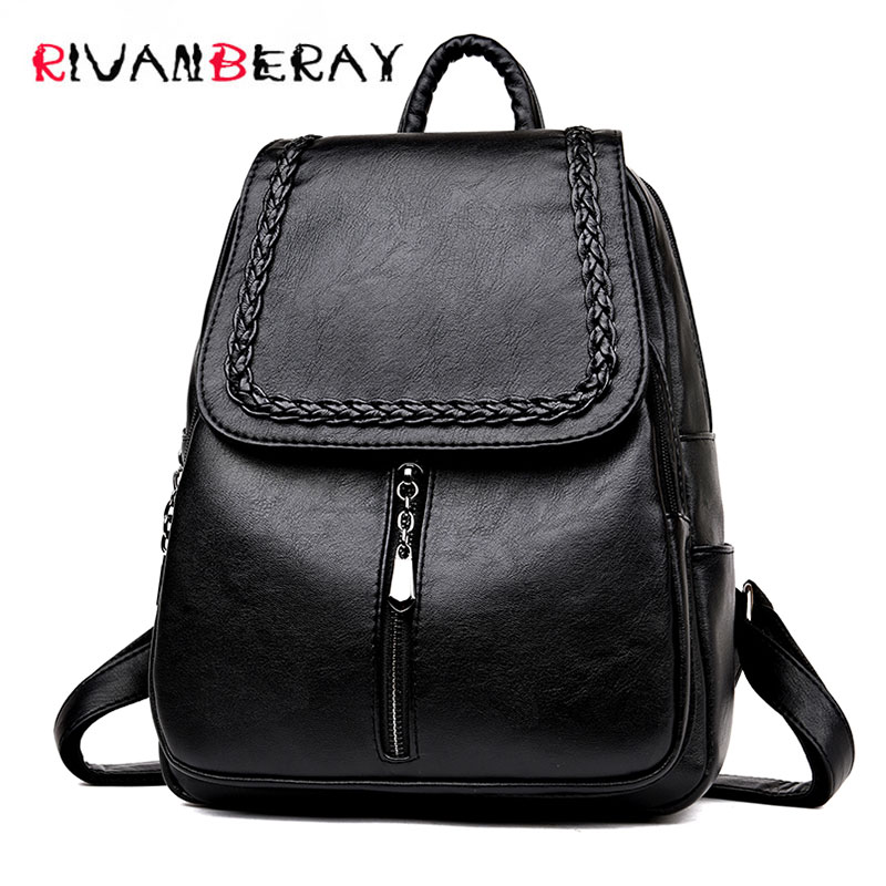 Fashion Brand Laptop Backpack Women Leather Luxury Weaving Backpacks Ladies Fashion Rucksacks Satchel School Bag Female Mochilas