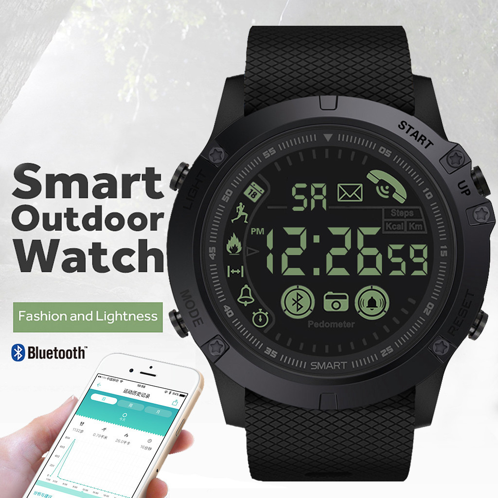 Men's watch outdoor intelligent Multifunction sports and leisure digital clock military silicone automatic clock waterproof H4