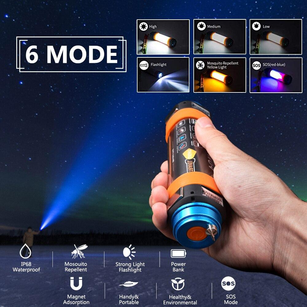 SHENYU LED Camping Lampe De Poche Anti-Moustique USB Rechargeable Lanterne De Tente IP68 Imperméable Magnétique Camp D'urgence Équipement