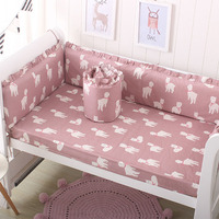 Baby Bumper For Newborns Infant Crib Protector Cushion Cartoon Reindeer Printed Bed Bumper&Sheet 2Pcs New 2019 Baby Room Decor