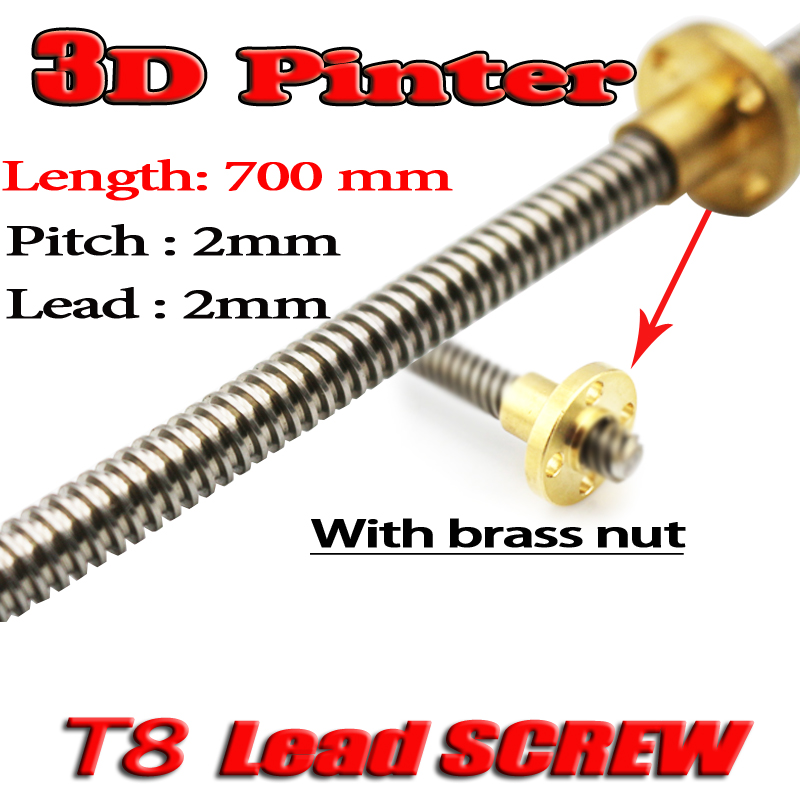3D Printer THSL-700-8D Lead Screw Dia 8MM Pitch 2mm Lead 2mm Length 700mm with Copper Nut 3d printer thsl 600 8d lead screw dia 8mm pitch 2mm lead 2mm length 600mm with copper nut free shipping