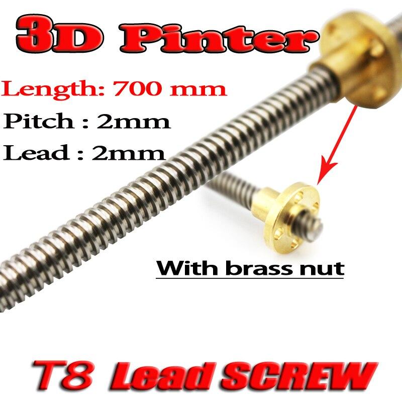 3D Printer THSL-700-8D Lead Screw Dia 8MM Pitch 2mm Lead 2mm Length 700mm with Copper Nut 3d printer thsl 600 8d lead screw length 600mm with copper nut dia 8mm pitch 2mm lead 4mm free shipping